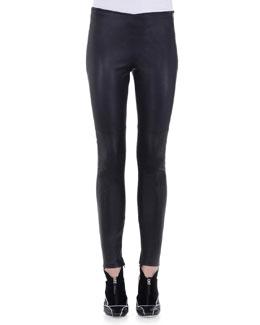 Stretch Napa Leather Skinny Pants