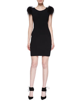Fur-Trimmed Cap-Sleeve Sheath Dress