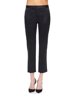 Satin Slit-Pocket Skinny Ankle Pants, Black