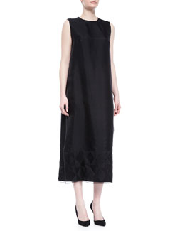 Crewneck Geometric-Embroidered Gown