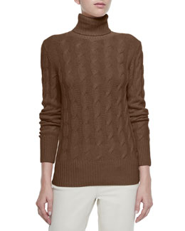 Dolcevita Trecce Cable-Knit Turtleneck Sweater