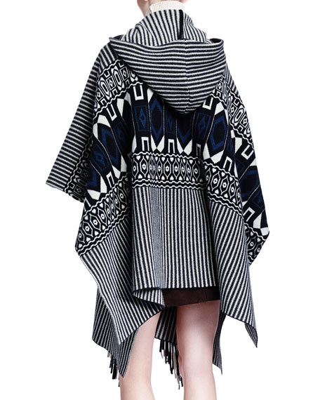 Cashmere-Blend Hooded Geometric-Print Fringe Cape
