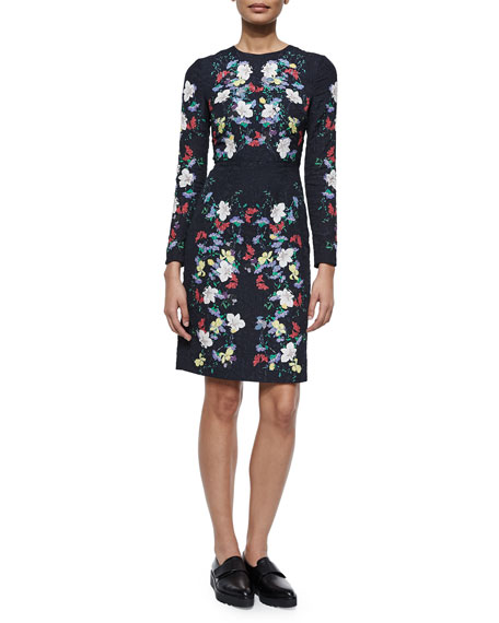 Evita Long-Sleeve Floral Jacquard Dress