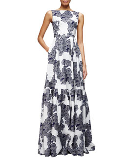 Alouette Floral-Print Gown