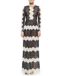 Melvina Striped Floral Lace Gown