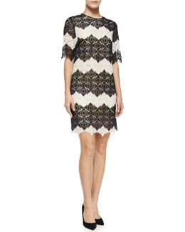 Emmalina Zigzag Damask Lace Dress