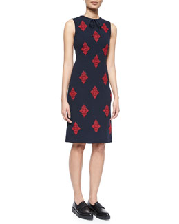 Brenton Damask-Embroidered Sheath Dress