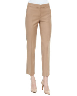 Cashmere Straight-Leg Ankle Pants