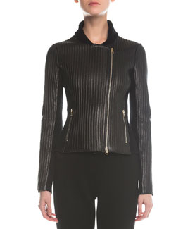 Leather Bonded Ribbed Jacket