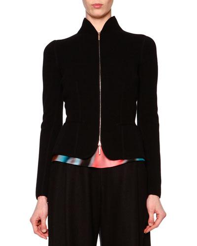Cashmere-Blend Fleece-Knit Jacket