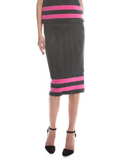 Ribbed Border Striped Pencil Skirt, Pink/Black