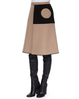 Cashmere-Blend Cutout Contrast-Inset Circle Skirt