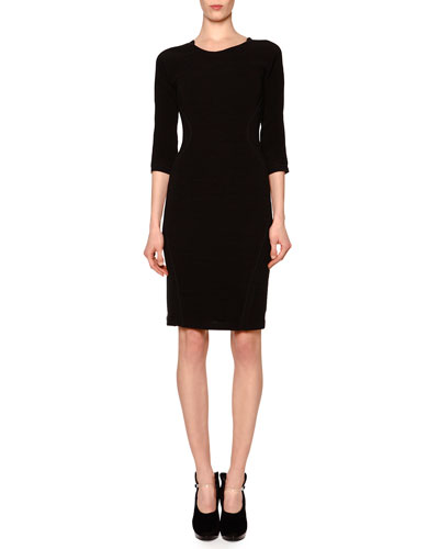 Ribbed Crepe-Inset Sheath Dress