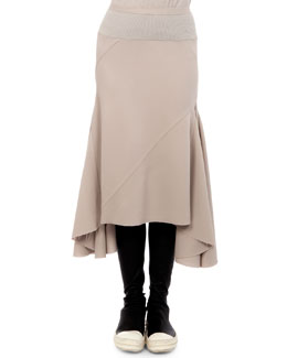 Asymmetric Godet Pleated Midi Skirt