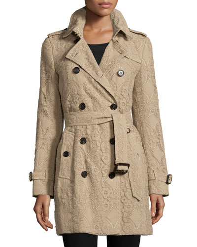Kensington Mid-Length Lace Trenchcoat, Khaki