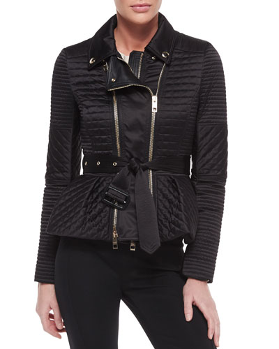 Quilted Biker Jacket with Belt
