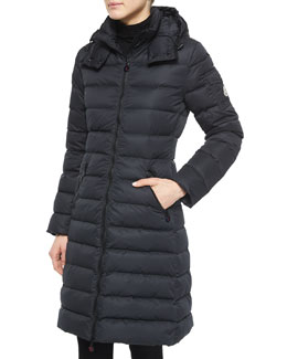 Moka Matte Fitted Puffer Coat with Hood