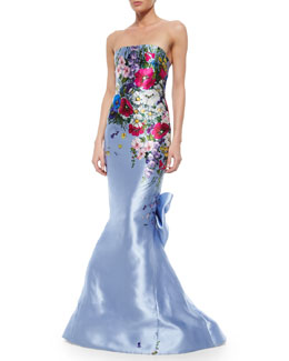 Strapless Floral-Printed Taffeta Gown