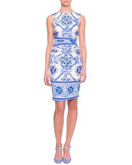 Classic Floral Tapestry-Print Ruched Dress