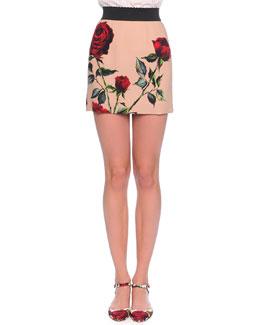 Rose-Print Mini Skirt