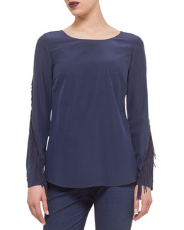 Long-Sleeve Fringe-Trimmed Blouse
