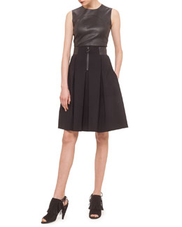 Box-Pleated Faux-Leather Trimmed Skirt