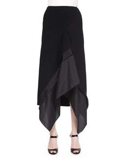 Stretch Crepe Trimmed Asymmetric Skirt