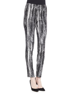Brush-Striped Stretch Jacquard Leggings