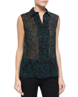 Sleeveless Abstract-Print Georgette Blouse
