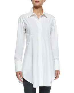 Ruffled Poplin Easy Shirt