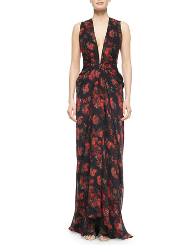 Plunging Floral-Print Cascading Ruffle Gown