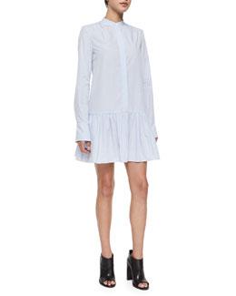 Flounce-Skirt Poplin Shirtdress