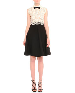 Scalloped Floral Lace Combo Dress