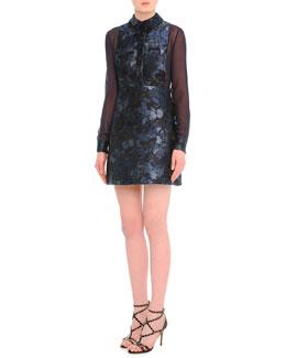 Camu Butterfly-Print Brocade Combo Dress