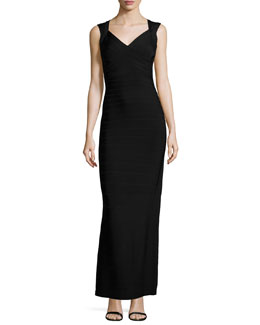V-Neck Bandage Gown, Black