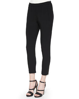 Tamara Relaxed Tapered Pants with Elastic Waist, Black