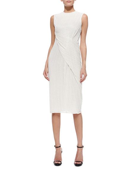 Stripe-Beaded Wrap-Front Dress
