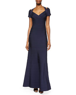 Open-Shoulder Bandage Gown, Navy