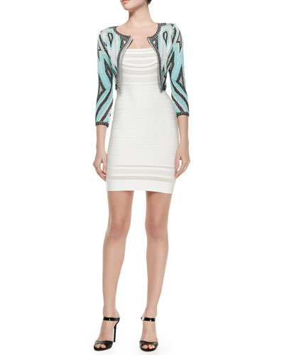 Geometric Pattern Bandage Crop Jacket