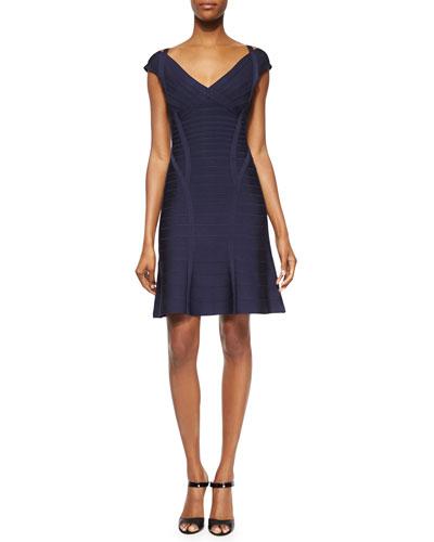 Off-Shoulder Flounce Bandage Dress