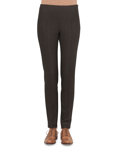 Melissa Stretch Flannel Pleated Slim Pants, Gray