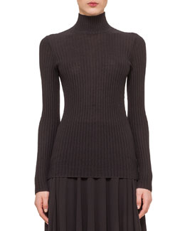 Cashmere-Blend Zigzag Ribbed Pullover