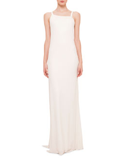 Asymmetric-Neck Draped-Back Gown