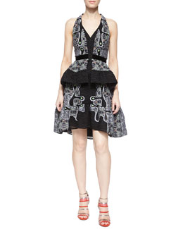 Quantum Embroidered Split-Peplum Halter Dress