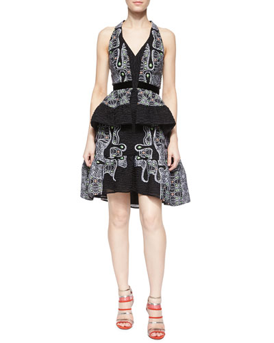 Quantum Embroidered Split-Peplum Halter Dress