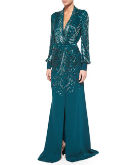 Sequined Wrap-Front Slit Gown
