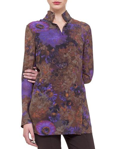 Floral-Print Slit-Front Tunic