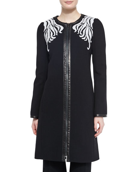 Scrolling Embroidered Crepe Coat