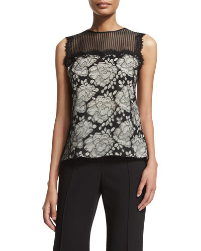Floral-Lace Silk-Blend Illusion Shell, Black/White