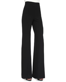 Wool High Waist Wide-Leg Pants, Black
